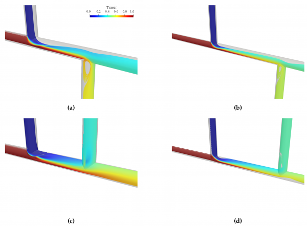 Experimental and numerical investigation of mixing phenomena in double-Tee junctions